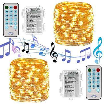 Guirlande Lumineuse LED à Pile 2 x 10M 100 LED Musique Voix Activée Fonction Minuterie Etanche avec Télécommande 12 Modes Fil Cuivre Décoration pour Mariage Jardin Noël Soirée – Blanc Chaud