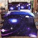 Bettbezug Set 3D Galaxy Sternenhimmel Universum Mond Einhorn Duvet Quilt Und Kissenbezug Einzelbett 135x200cm für Kinder, Jungen, Mädchen Bettwäsche-Set (Lila Stern, 135 x 200 cm)