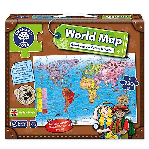Orchard Toys - Puzzle e poster, motivo: Planisfero, 5-10 anni [Lingua inglese]