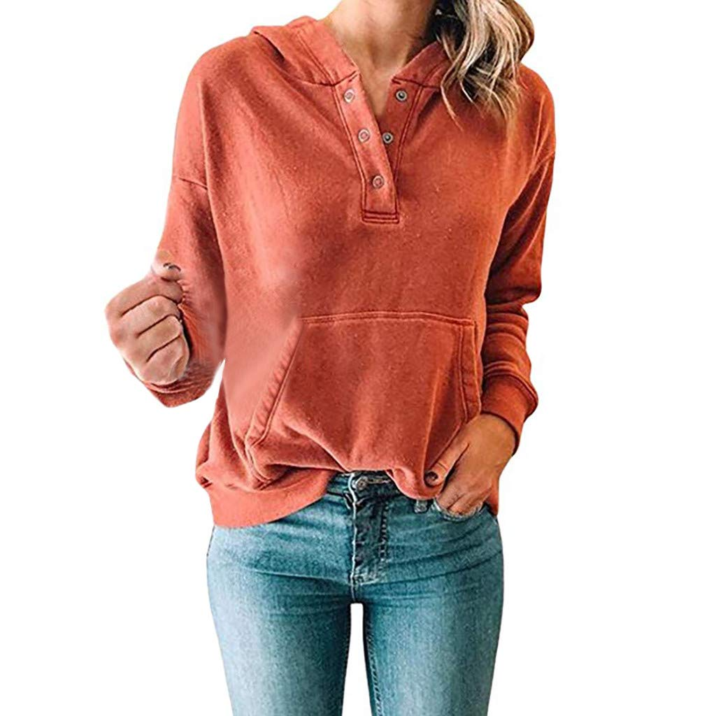 089955ab21b900 Toamen Womens Hoodies Sweatshirt Sale 2019 New Ladies Long Sleeve Solid  Button Casual Shirts Hooded Pullover Tops Blouse. 🔍. Amazon.co.uk ...
