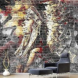 Papier Peint Personnalisé Papier Peint Tissus De Soie 3D Graffiti Art Bois Grain Mur De Briques Murale Rétro Caractéristique Café Restaurant Restaurant Parement Papier Peint Tissu De Soie,W300xH210cm