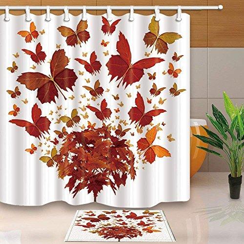 CDHBH Creative Art Decor Mariposa volando otoño árbol con hojas 71 x 71 pulgadas resistente al moho tejido de poliéster cortina de ducha traje con 15.7 x 23.6 in franela antideslizante suelo felpudo alfombra de baño