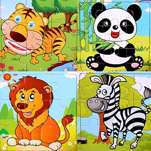 SIPLIV puzzle di legno 9-pezzi di puzzle per 2-5 anni i bambini, set di 4, Foresta animali A