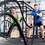 Fitness Tau Battle Rope 9 m lang 38 mm ∅ starkes Schwungseil, schwarz