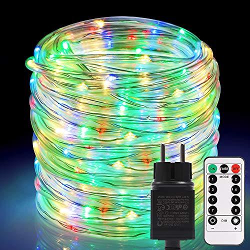 Tubo Luminoso, ECOWHO 20m 336 LED Luci da fata colorate, Luci Stringa Luminosa Impermeabile IP67, 8 Modalità di Illuminazione con Telecomando e Funzione Timer per Natale, giardino, matrimonio, feste