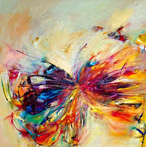 XIAOXINYUAN Decoración Moderna Casa Salón Dormitorio Pared Mariposas Coloridas Imagen Impresa Arte Oleo Sobre Lienzo 50X50Cm