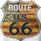 Route 66 American Flag Shield targa placca metallo piatto Nuovo 30x30cm VS4505-1