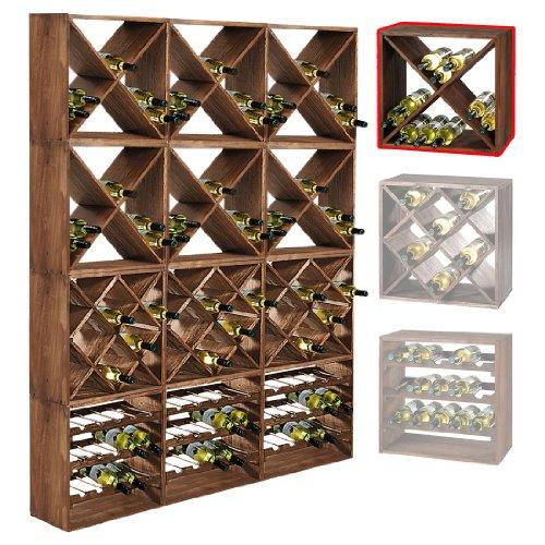 Cantinetta / scaffale per vino / sistema CUBE 50, legno massiccio, modulo X - a 50 x l 50 x p 25 cm