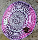 Handicrunch Marry Christmas Round Roundie Yoga Mat Indian Mandala Round Roundie Beach Throw Tapestry Hippy Boho Gypsy Cotton Table Cover Beach Towel , Beach Towel Throw , Round Yoga Mat 42""