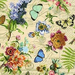 floristikvergleich.de 20 Servietten Vintage Summer ? Sommerszene Vintage / Blumen / Schmetterlinge 33x33cm