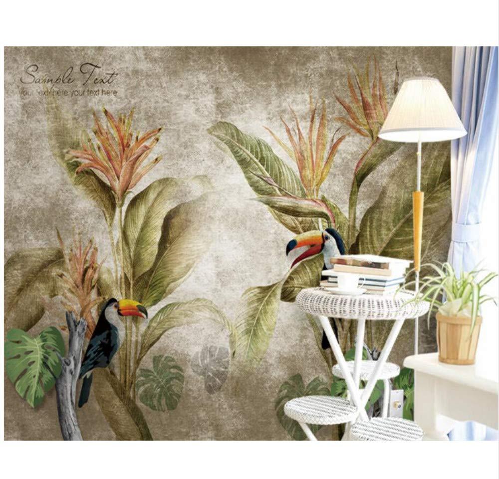 Adesivi Murali Scandinavo Retro Tropical 3d Fai Da Te Decorazioni Per La Casa Carta Da Parati Per Pareti Camera Da Letto Panno Di Seta W200xh140cm