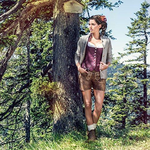 ALMBOCK Trachten Strickjacken für Damen | Damen Trachtenjacke mit Hirschhornoptik Knöpfen | Strickjacke Trachten grau - Trachtenjacke Gr. XL - 2