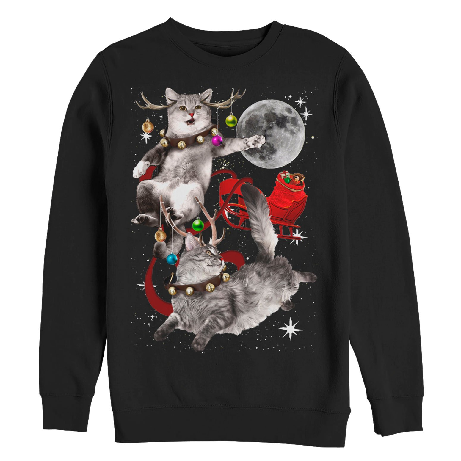 Mens Ugly Christmas Sweater.Lost Gods Men S Ugly Christmas Sweater Cat Sleigh Sweatshirt