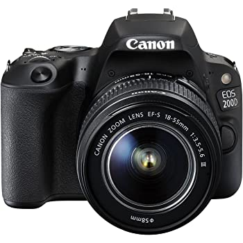 Canon EOS 200D Digital SLR Camera with EF-S 18 – 55 mm f/4-5.6 IS STM Lens – Black