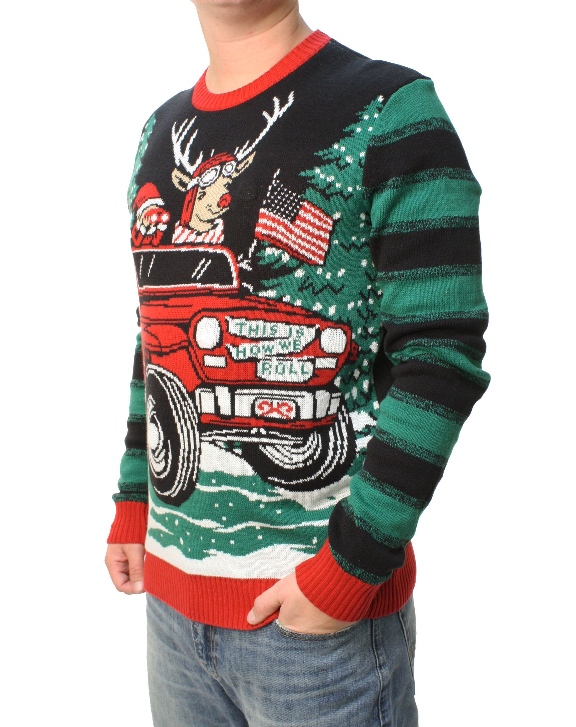 Ugly Christmas Sweater Men.Ugly Christmas Sweater Men S Jeep Reindeer Led Light Up Pullover Sweatshirt
