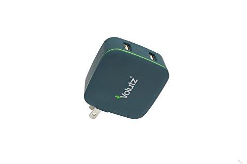 Volutz 2ポート USB急速充電器 4.8A 24W iPhone / Android スマホ タブレット モバイルバッテリー 等対応 折り畳みプラグ搭載acアダプター 急速モバイル充電器- Slate Gray