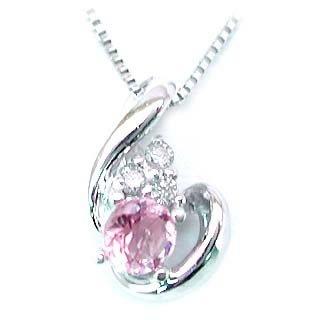 SUEHIRO K18 ホワイトゴールド 誕生石 ダイヤモンド バースディ ペンダント ネックレス 10月 ピンクトルマリン