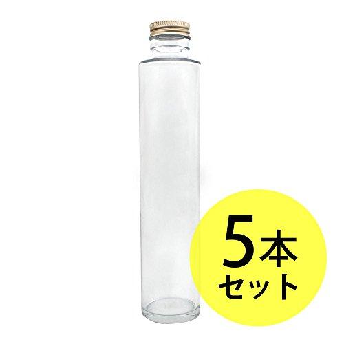 ガラス瓶丸型200ml×5本セット(スクリューキャップ付)(ガラス容器/オイル用空瓶 ハーバリウムオイル用 インテリア雑貨) …
