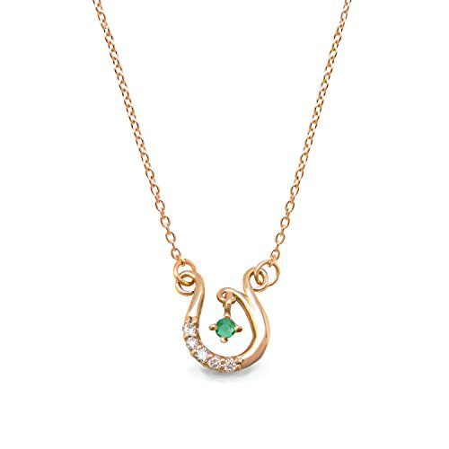 [ミワホウセキ] miwahouseki 幸せ 舞い込む ホースシュー & 選べる 誕生石 付き ピンク ゴールド ダイヤモンド ネックレス 5月 エメラルド