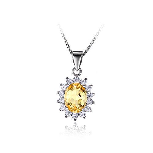 JewelryPalace Kate Diana(ダイアナ) プリンセス デザイン 天然石 11月 誕生石 シトリン 黄水晶 ネックレス ペンダント シルバー 925 チェーン 45cm