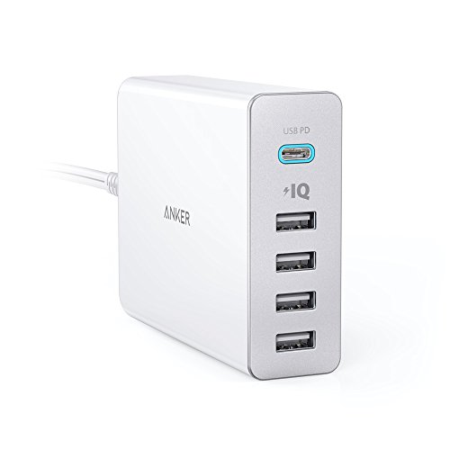 Anker PowerPort+ 5 USB-C Power Delivery 60W 5ポート Power Delivery搭載 USBUSB-C 急速充電器 新しいMacBook / iPhone / iPad / Android 各種他対応