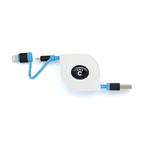 cheero 2in1 Retractable USB Cable with MicroUSB & Lightning 70cm MFi認定 ホワイト×ブルー CHE-241