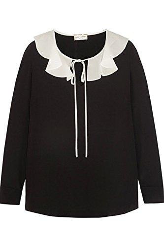 (サンローラン) Saint Laurent レディース フリル シルク クレープ デシン ブラウス Ruffled silk crepe de chine blouse (並行輸入品) dattonuri