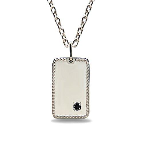 [ミワホウセキ] miwahouseki 選べる 誕生石 & 名前 と 記念日 を 刻印 できる プラチナ メンズ ジュエリー プレート ネックレス [M8P] (4月 ブラックダイヤモンド)
