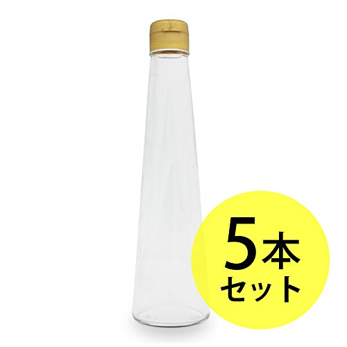 ガラス瓶円すい型 200ml×5本セット(キャップ付)(ガラス容器/オイル用空瓶 ハーバリウムオイル用 インテリア雑貨)