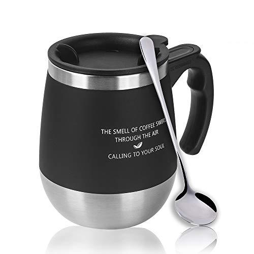 Once ZY時間450mlクリエイティブベリー水コーヒーマグかわいいマグカップFunnyお茶カップ二重壁ステンレススチールカップwithシリコン蓋、クリエイティブオフィスmugs-perfectのギフト友人/ファミリ–4色 ブラック