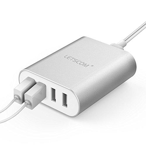 LETSCOM 4ポート 25W USB急速充電器 コンパクト ACアダプター iPhone iPad androidスマホ タブレットなど多機種対応 シルバー