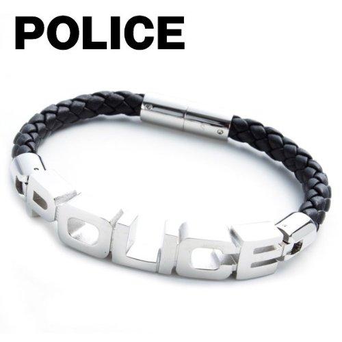 ポリス POLICE ブレスレット メンズ SIGNATURE シグネチャー ロゴ レザーブレスレット アクセサリー ブラック(黒)23873BLB-S