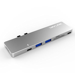 """Wavlink USB C Hub Type C adapter USB Cハブ 13""""/15"""" MacBook Pro 2016/2017 thunderbolt 3 充電ポート PD機能付きサンダーボルト3 ハブ ドッキングステーション 4K HDMIポート 2* USB 3.0 ポートMicro SD/SDカードリーダー アルミニウム 7 in1 (シルバー) …"""