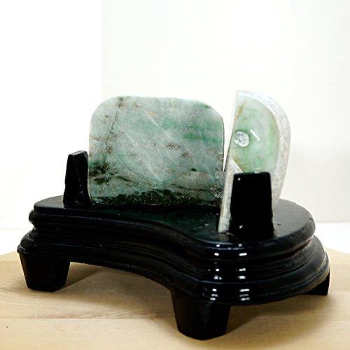 パワーストーン 【TENKAPAS】 ミャンマー産 翡翠 ジェイダイト 原石(996g)台座付き♪インテリアストーン 置物 【天然石 パワーストーン】