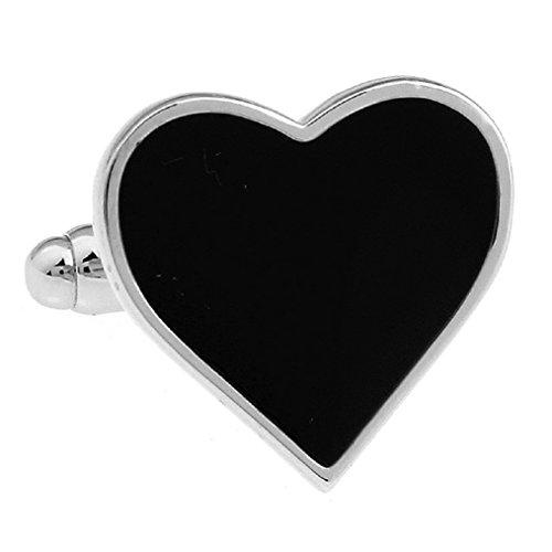 MFYS Jewelry ブラック ハート カフス カフスボタン専用ジュエリーBOX付