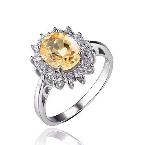 JewelryPalace 1.8ct Kate Middleton(ケイトミドルトン)Diana(ダイアナ) プリンセス デザイン 婚約 誕生石 11月 天然石 シトリン リング スターリング シルバー 925 指輪 結婚式