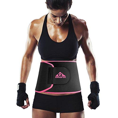 GROOFOO シェイプアップ ダイエット ベルト 発汗促進 サウナベルト 腰 サポーター 腹 引き締めり 姿勢矯正 男女兼用 GF-044 ピンクM