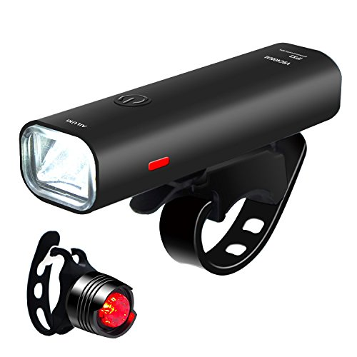 自転車LEDライト 【改良版】 AILUKI フロントライト ヘッドライト 2500mah USB充電式 高輝度4モード 自転車前照灯 懐中電灯 アルミ合金製 防水 小型 軽量 着脱簡単 アウトドア専用 18ヶ月間安心保証