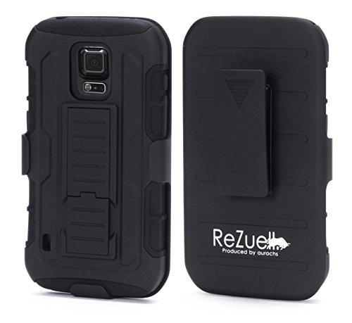 ReZuell.]SAMSUNG GALAXY S5 ACTIVE 《 docomo SC-02G 》2重構造 ポリカーボネート & シリコン ハイブリッド ミリタリー ジャケット ショルダークリップ ホルスター 付属 耐衝撃 コンポジット スタンド ケース カバー サムスン ギャラクシー S5 アクティブ ブラック×ブラック