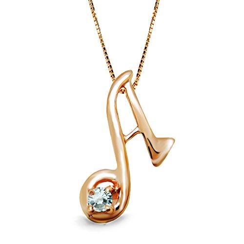 [ミワホウセキ] miwahouseki イニシャル A 選べる 誕生石 付き ピンクゴールド アルファベット ネックレス (3月 アクアマリン)