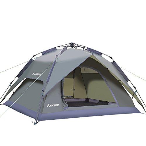 ANNTER ワンタッチテント テント 3~4人用 設営簡単 防災用 2WAY キャンプ用品 撥水加工 紫外線防止 登山 折りたたみ 防水 通気性 アウトドア 秒速設営 3色選択可能 (アーミーグリーン)