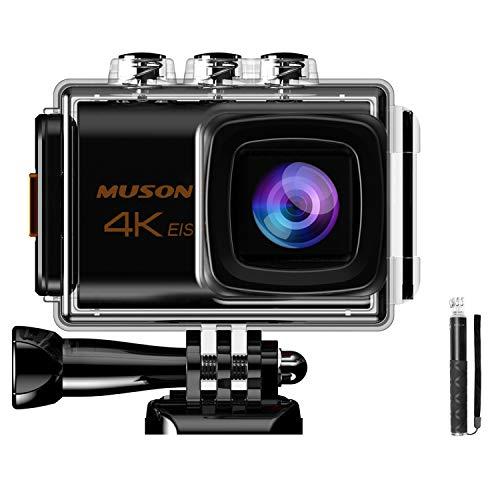 【最新版 自撮り棒付属】MUSON(ムソン)アクションカメラ 4K高画質 手振れ補正 外部マイク対応 WiFi搭載 2000万画素 30M防水 1200mAhバッテリー2個 メーカー1年保証 170度広角レンズ リモコン付き 2インチ液晶画面 HDMI出力 ドライブレコーダーとして使用可能 水中カメラ 防犯カメラ スポーツカメラ ウェアラブルカメラ