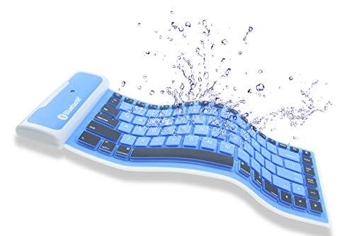 FULLBELL 折り畳み式 防水キーボード ワイヤレス Bluetooth シリコンミニキーボード 持ち運び易い 静音 防塵 洗える シリコンキーボード タブレット/スマートフォン/ラップトップ用 充電式リチウムバッテリ内蔵 (ブルー)