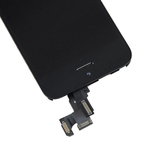 Super LCD Shop iPhone5S フロントパネル カスタムパーツ 液晶パネル LED スクリーン 修理パーツ(ホームボタン +スピーカー +フロントカメラ)(ブラック)