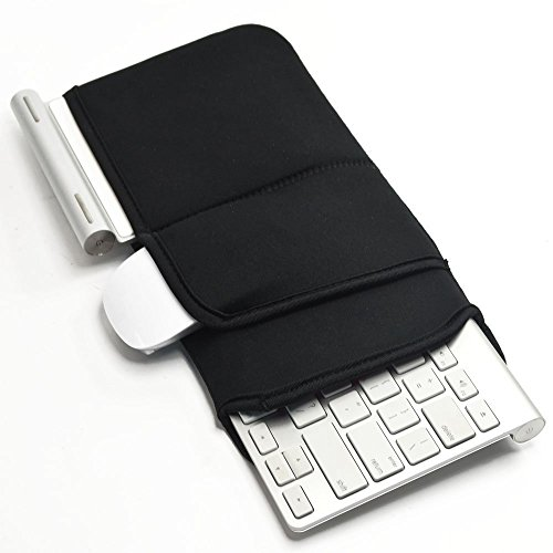 【 Ambertech 】 Bluetooth ワイヤレスキーボードケース 防塵防衝撃カバー 持ち運びに便利 汎用型 アップル Appleワイヤレス Bluetooth キーボードMC184LL/B , MC184D/A , MC184D/B / Logicool Easy-Switch K810 / K811 ほぼ全機種対応可能 12インチ ワイヤレス キーボード マウス収納可能 2色 (黑)