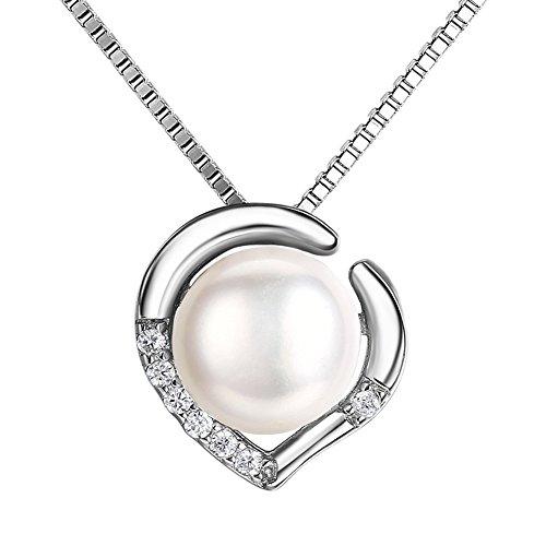 J.SHINE ネックレス シルバー925 淡水パールネックレスペンダント ハート型真珠のレディースファッション 首飾