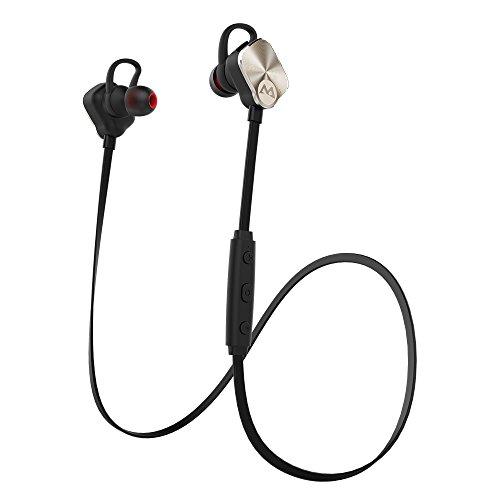 Mpow Magneto Bluetooth4.1スポーツイヤホン ワイヤレスヘッドセット 最大8時間再生 マグネット技術 AptX対応 ノイズ低減仕組み iPhone&Androidスマホに対応(ゴールド)