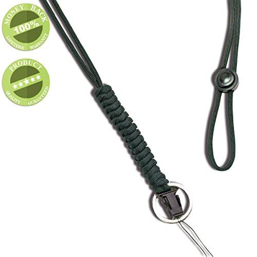 WALNEW ネックストラップ 救助用ロープ 丸紐 多機能ネックストラップ 超頑丈なパラコード ランヤード スマホやデジカメ、ネームプレートや鍵など多様に使用 オシャレな携帯式 吊り下げストラップグレー