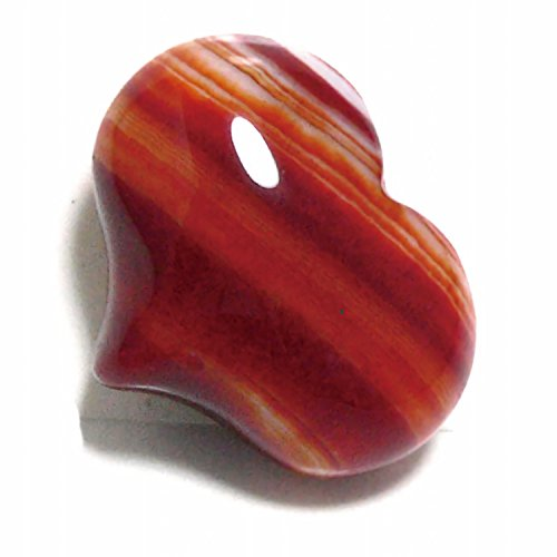 パワーストーン Elsoluna サードオニキス ハート タンブル 横25×縦21ミリ 紅縞瑪瑙 パワーストーン 天然石 ハート彫り ぷっくり かわいい ハート 風水 開運 インテリア