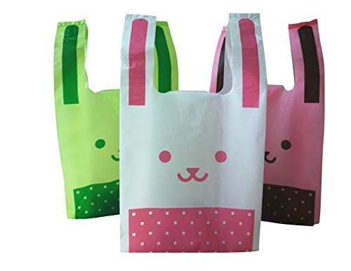 【Fuwari】かわいいビニール袋 3色 150枚セット うさぎ ( ホワイト ピンク グリーン mix)(M)